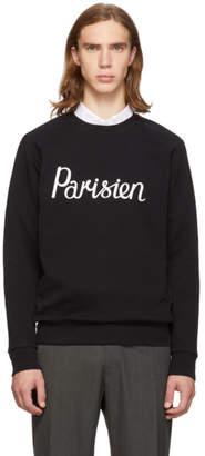MAISON KITSUNÉ Black Parisien Crewneck Sweatshirt