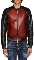 DSQUARED2 Colorblock Leather Bomber Jacket, Red/Blue