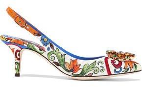 Dolce & Gabbana Bellucci Crystal-embellished Printed Jacquard Slingback Pumps