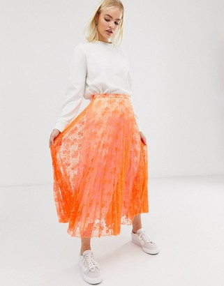 Asos Design DESIGN neon pleated lace midi skirt-Orange