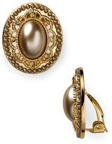 Carolee Oval Button Clip-On Earrings