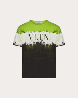 Valentino Jelly Block Print T-shirt Man Neon Green/multicolor Cotton 100% M