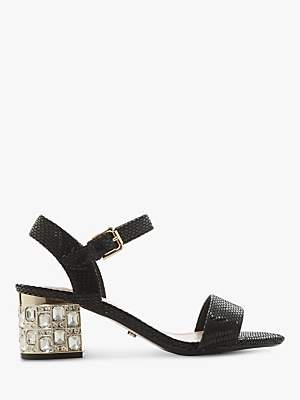 Dune Mesmerized Leather Embellished Heeled Sandals, Black