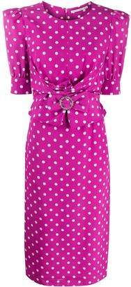 Alessandra Rich Polka Dot Fitted Dress