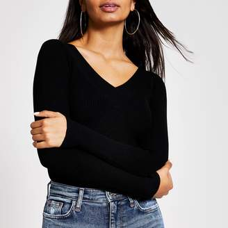 River Island Womens Black V neck fitted ribbed knit jumper