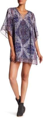 Joie V-Neck Lace-Up Print Silk Dress