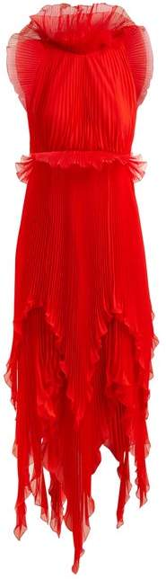 Givenchy Ruffle Trimmed Pleated Silk Dress - Womens - Red Multi