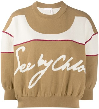 See by Chloe Cropped Gathered-Knit Jumper