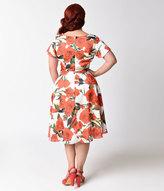 Unique Vintage Plus Size 1940s White & Red Rose Cap Sleeve Formosa Dress