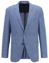 BOSS Slim-fit jacket in micro-patterned cotton and linen