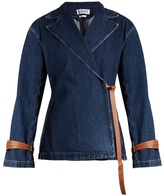 Loewe Peak-lapel leather-tie denim jacket