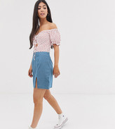 Asos DESIGN Petite Exclusive denim mini skirt with split front in lightwash blue