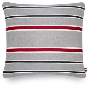 """Tommy Hilfiger Appliqued Tommy Cotton Indoor / Outdoor 20"""" Striped Throw Pillow"""