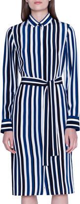 Akris Spring Striped Silk Shantung Shirtdress