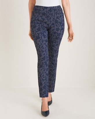 So Slimming Brigitte Blue Floral Slim Ankle Pants