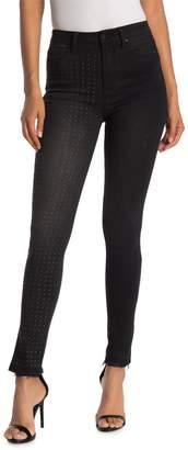 Rachel Roy Collection Studded Raw Hem Skinny Jeans