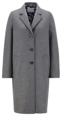 HUGO BOSS Single-breasted coat in a melange virgin-wool blend
