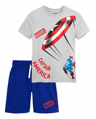 Marvel Boys Pyjamas Avengers Boys Short Pyjamas with Captain America Iron Man and The Hulk 2 Piece PJs Set Short Sleeve Top and Boys Shorts Gifts Boys Teenagers (Grey/White 8 Years)