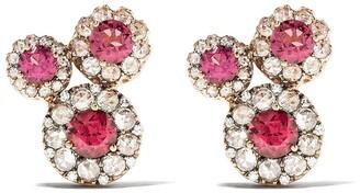 Selim Mouzannar 18kt rose gold diamond rhodolite Beirut earrings