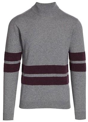 Saks Fifth Avenue MODERN Varsity Stripe Mockneck Sweater