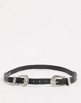 ASOS DESIGN double buckle western waist and hip belt in black