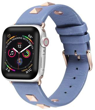 POSH TECH Blue Studded Leather 42mm Apple Watch 1/2/3/4 Band