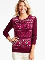 Talbots Beaded Fair Isle Blocked Sweater