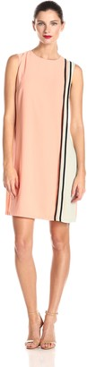 Donna Morgan Women's Sleeveless Color-Block Piped Shift Dress