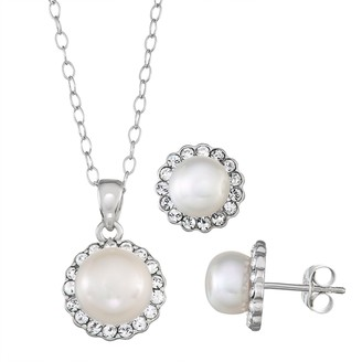 Sterling Silver Freshwater Cultured Pearl Pendant & Stud Earring Set