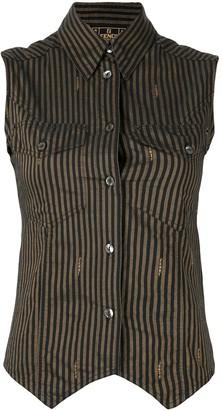 Fendi Pre Owned Striped Sleeveless Shirt