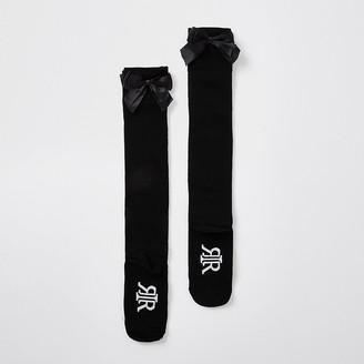 River Island Girls black over the knee bow socks pack