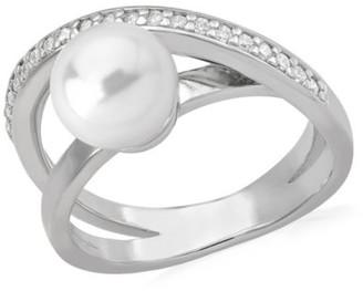 Majorica 8MM White Pearl Crisscross Ring