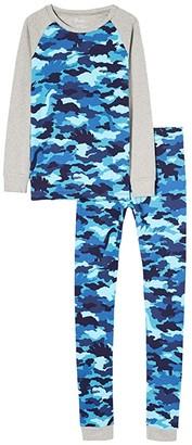 Hatley Dino Camo Organic Cotton Raglan PJ Set (Toddler/Little Kids/Big Kids) (Blue) Boy's Pajama Sets