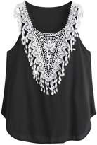 Aribelly Women's Casual Sleeveless Lace Crop Top (XXL, )