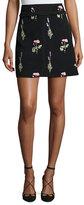 Giambattista Valli Floral-Embroidered Mini Skirt, Black