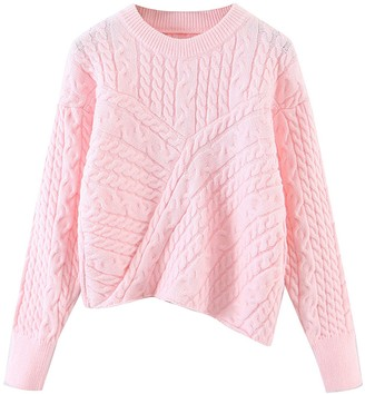 Goodnight Macaroon 'Eunice' Asymmetric Cable Knit Sweater (2 Colors)
