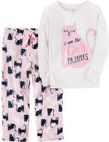 Carter's Toddler Girl 2-pc. Printed Top & Fleece Pants Pajama Set