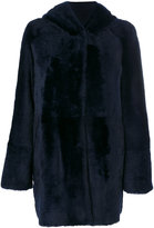 Drome hooded fur coat - women - Leather/Polyester/Viscose - S
