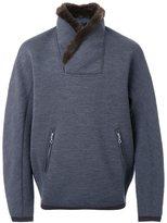 Kolor fur collar sweatshirt - men - Nylon/Wool - 4
