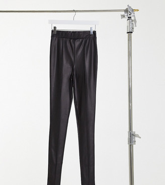 Asos Tall ASOS DESIGN Tall leather look leggings with pintuck in black
