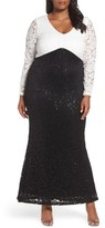 Marina Plus Size Women's Sequin Lace Mermaid Gown