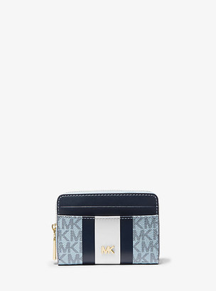 MICHAEL Michael Kors MK Small Logo Stripe Wallet - Pale Blue/navy - Michael Kors
