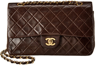 Chanel Brown Quilted Lambskin Leather Medium Double Flap Bag