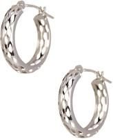 Candela 14K White Gold Mesh Diamond-Cut Hoop Earrings