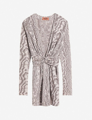 Missoni V-neck metallic knitted mini dress