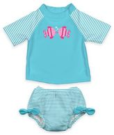 I Play Size 18M 2-Piece Ultimate Swim Diaper & Kissing Fish Rashguard Set in Aqua