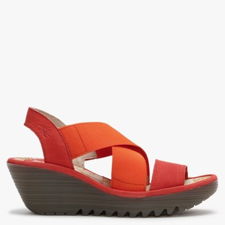 Fly London Yaji Devil Red Leather Elasticated Cross Strap Wedge Sandals