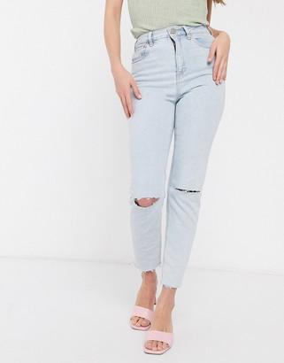 ASOS DESIGN high rise farleigh 'slim' mom jeans in bleachwash with nibbled hem detail
