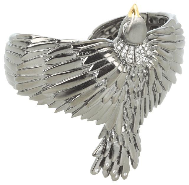 Elizabeth and James Meadowlark Bird Cuff with White Sapphire (Sterling Silver/Black Rhodium) - Jewelry