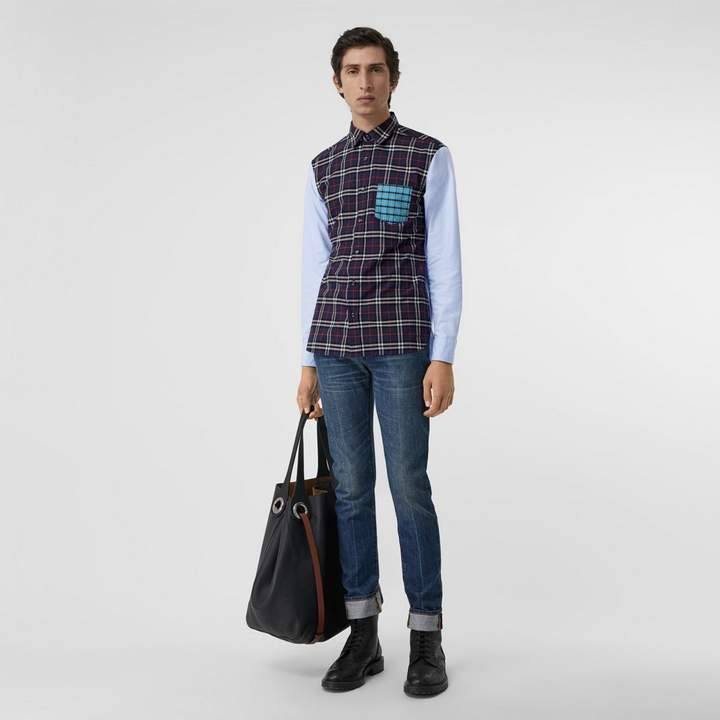 Burberry Contrast Check Panelled Cotton Shirt